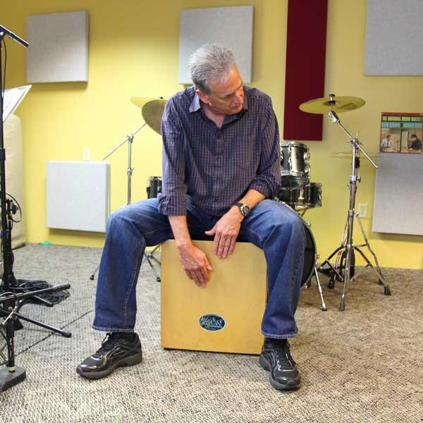 Steve Trovao playing cajon